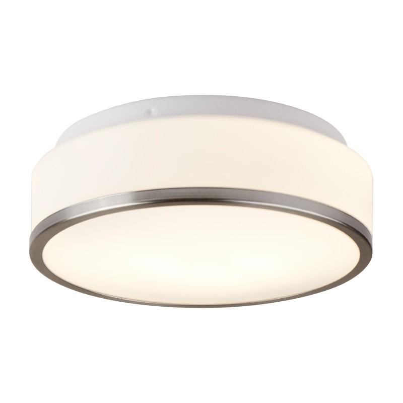DISCS - BATHROOM - IP44 2LT FLUSH OPAL WHITE GLASS SHADE WITH SATIN SILVER TRIM DIA 28CM