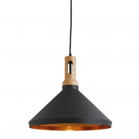 PENDANT 1LT CONE GOLD INNER BLACK OUTER WOOD EFFECT CAP