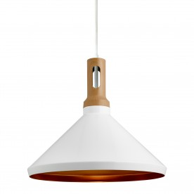 PENDANT 1LT CONE GOLD INNER WHITE OUTER WOOD EFFECT CAP