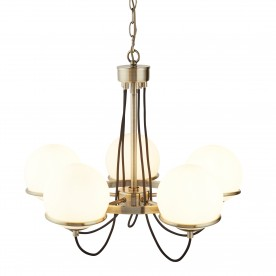 SPHERE 5LT CEILING ANTIQUE BRASS BLACK BRAIDED CABLE OPAL WHITE GLASS SHADES