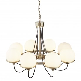 SPHERE 8LT CEILING ANTIQUE BRASS BLACK BRAIDED CABLE OPAL WHITE GLASS SHADES