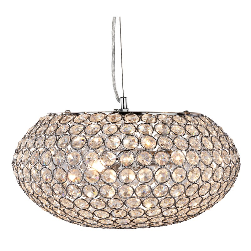 CHANTILLY PENDANT  - 3LT CEILING PENDANT CHROME WITH CLEAR CRYSTAL BUTTONS INSERTS
