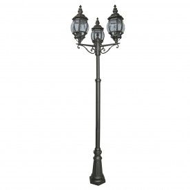 BEL AIRE OUTDOOR POST LAMP 3LT BLACK