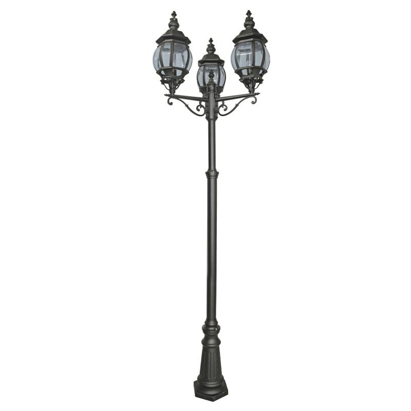 BEL AIRE OUTDOOR POST LAMP 3LT BLACK