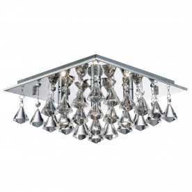 HANNA - 4LT SQUARE FLUSH CEILING CHROME CLEAR CRYSTAL PYRAMID DROPS