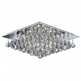 HANNA - 6LT SQUARE FLUSH CEILING CHROME CLEAR CRYSTAL PYRAMID DROPS