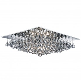 HANNA - 8LT SQUARE FLUSH CEILING CHROME CLEAR CRYSTAL PYRAMID DROPS