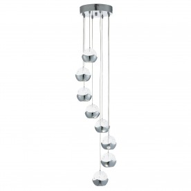 ICE BALL 8LT LED CEILING MULTI-DROP CHROME CLEAR GLASS/BUBBLE SHADES