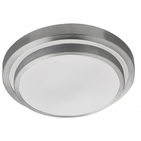 BATHROOM LED IP44 2 TIER FLUSH ALUMINIUM TRIM WHITE SHADE