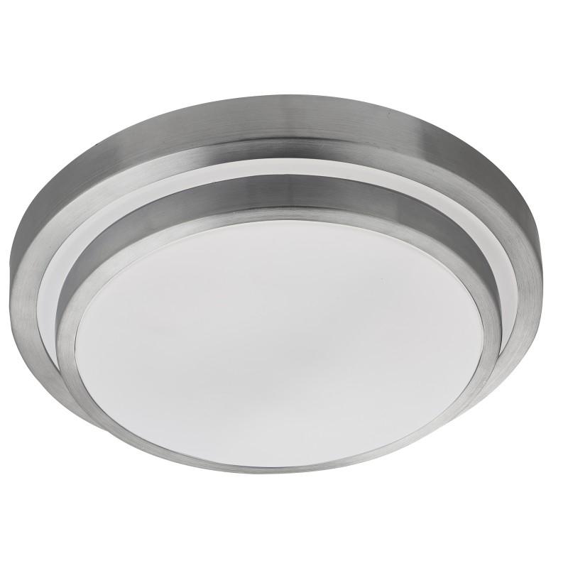 BATHROOM LED IP44 2 TIER FLUSH ALUMINIUM TRIM WHITE SHADE