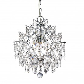 HARRIETTA - 3LT PENDANT CHROME WITH HEXAGONAL CRYSTAL DROPS & BUTTONS