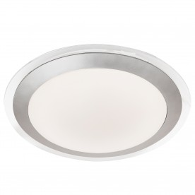 BATHROOM LED IP44 FLUSH CLEAR & SILVER WHITE SHADE