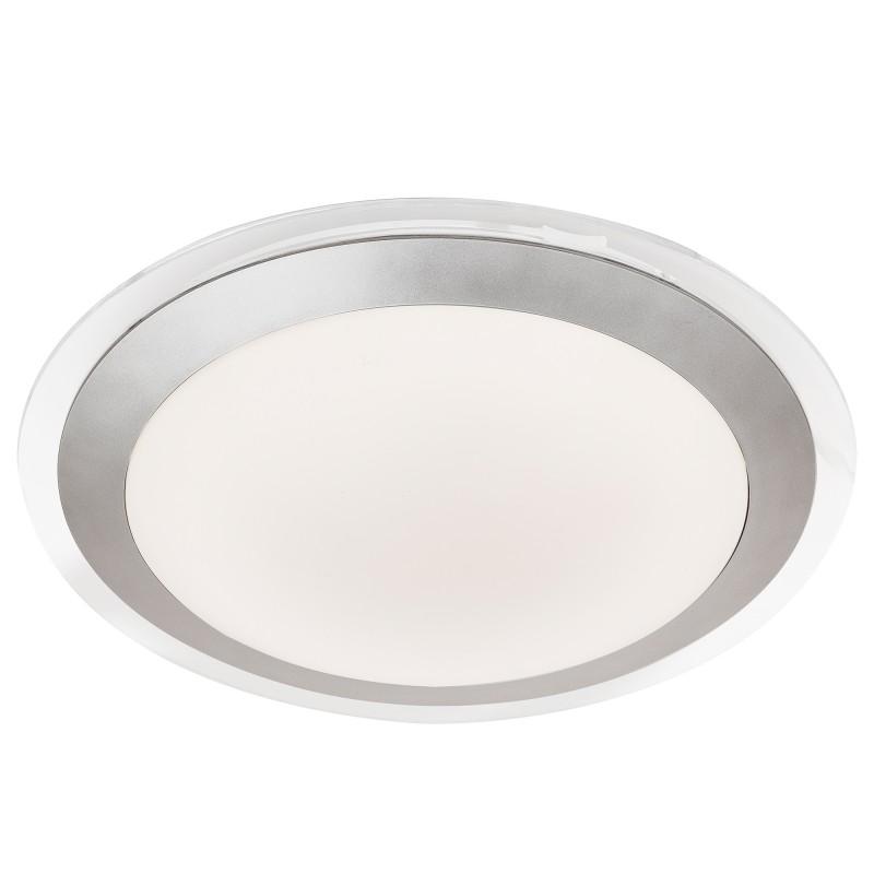 BATHROOM LED IP44 FLUSH CLEAR & SILVER WHITE SHADE