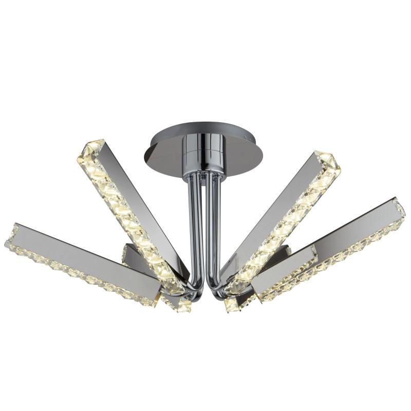 CLOVER - 6LT LED CEILING S/FLUSH CLEAR CRYSTAL CHROME
