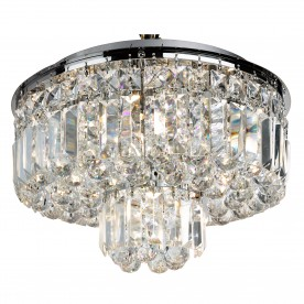 HAYLEY - 5LT FLUSH CEILING CHROME WITH CLEAR CRYSTAL COFFINS TRIM & BALL DROPS