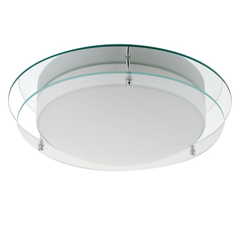 BATHROOM LIGHT IP44 2LT 38cm CHROME CIRCLE FLUSH CLEAR/OPAL GLS
