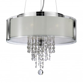 ORION PENDANT - 4LT PENDANT CHROME WITH FROSTED GLASS AND CLEAR CRYSTAL BUTTONS & DROPS