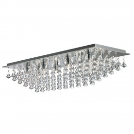HANNA - 8LT RECTANGLE FLUSH CHROME CRYSTAL PYRAMID DROPS