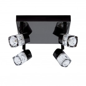 LED BLOCS - 4LT SPOTLIGHT SQUARE BLACK CHROME CLEAR GLASS (ICE CUBE)
