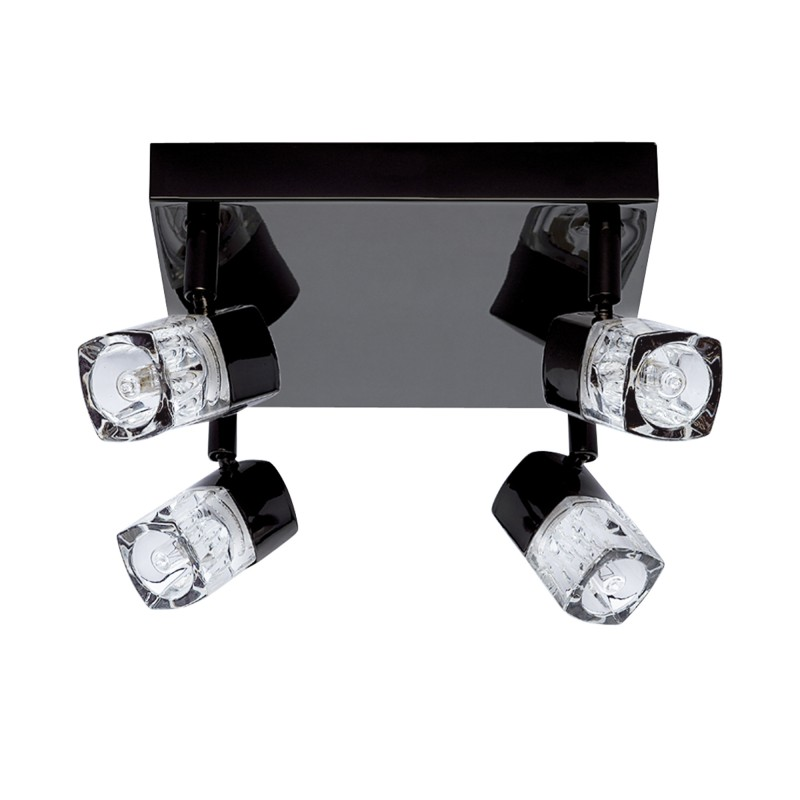 LED BLOCS - 4LT SPOTLIGHT SQUARE BLACK CHROME CLEAR GLASS (ICE CUBE)