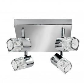 LED BLOCS - 4LT SPOTLIGHT SQUARE CHROME CLEAR GLASS (ICE CUBE)