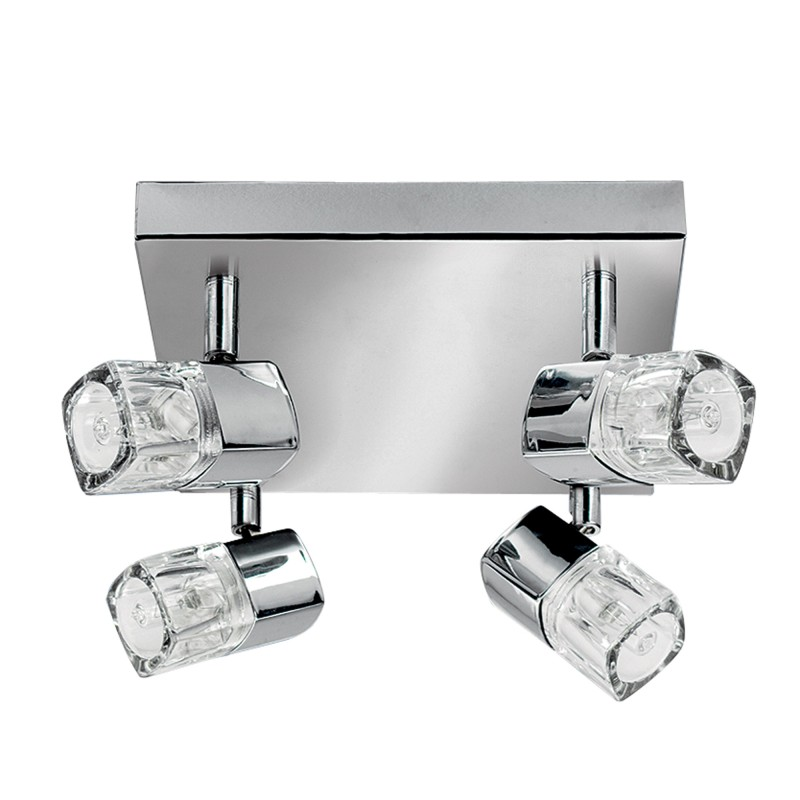 LED BLOCS - 4LT SPOTLIGHT SQUARE CHROME CLEAR GLASS (ICE CUBE)