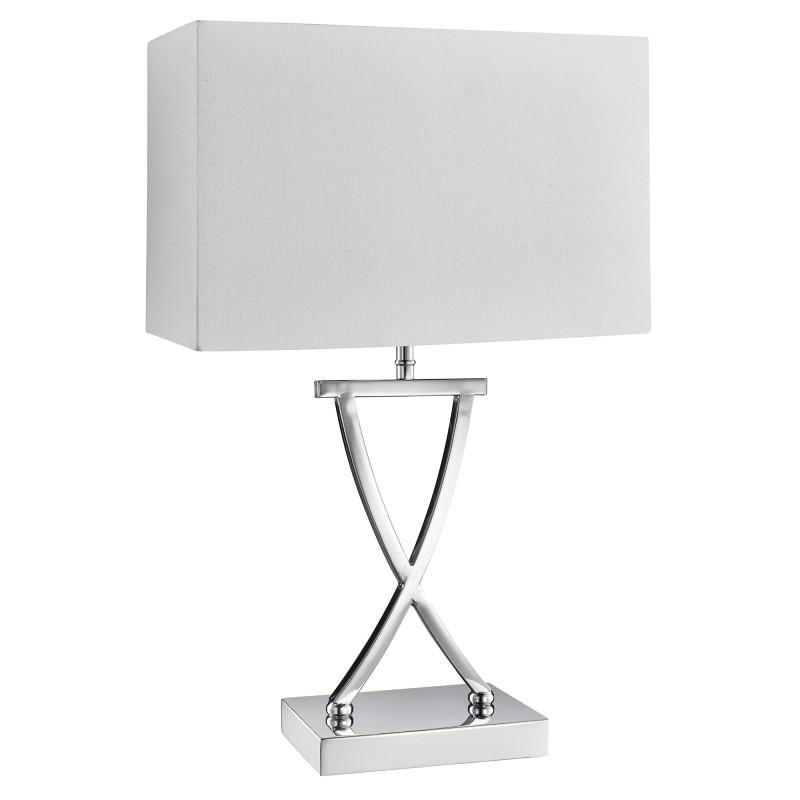 CLUB TABLE LAMP CHROME WHITE RECTANGLE SHADE