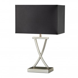 CLUB TABLE LAMP SATIN SILVER BLACK RECTANGLE SHADE