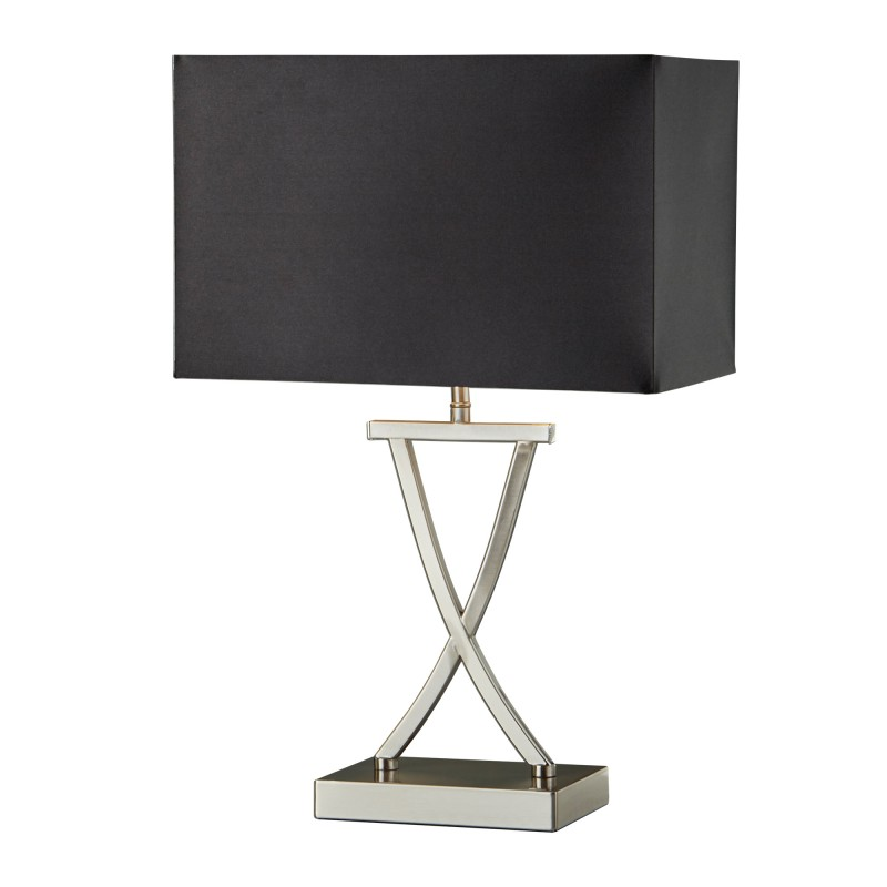 CLUB TABLE LAMP SATIN SILVER BLACK RECTANGLE SHADE