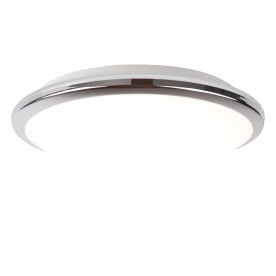 BATHROOM LED IP44 FLUSH CHROME TRIM FROSTED GLASS SHADE - DIA 30CM