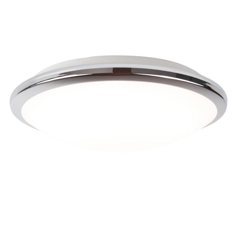 BATHROOM LED IP44 FLUSH CHROME TRIM FROSTED GLASS SHADE - DIA 30CM