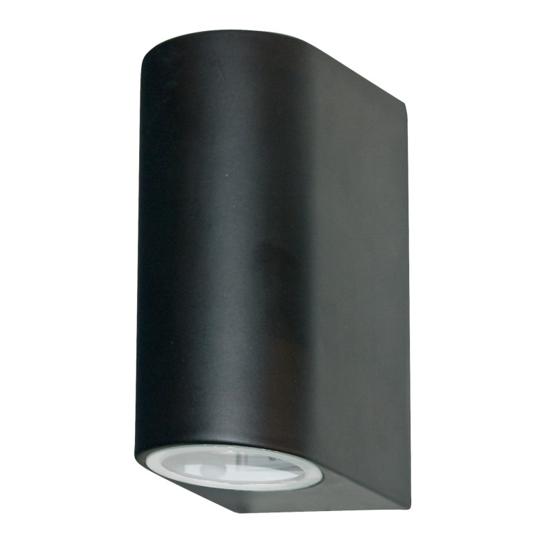 LED OUTDOOR & PORCH (GU10 LED) IP44 WALL LIGHT 2LT BLACK