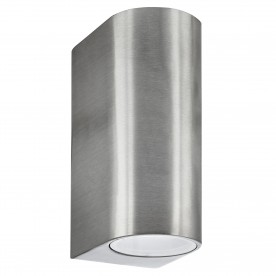 LED OUTDOOR & PORCH (GU10 LED) IP44 WALL LIGHT 2LT SILVER