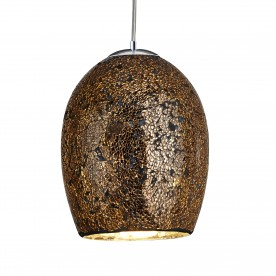 CRACKLE - 1LT PENDANT BRONZE MOSAIC GLASS & SATIN SILVER SUSPENSION