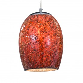 CRACKLE - 1LT PENDANT RED MOSAIC GLASS & SATIN SILVER SUSPENSION