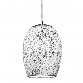 CRACKLE - 1LT PENDANT WHITE MOSAIC GLASS & SATIN SILVER SUSPENSION