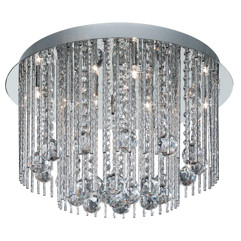 BEATRIX - 8LT CEILING FLUSH CHROME WITH TWIST TUBES AND CLEAR CRYSTAL BALL DROPS