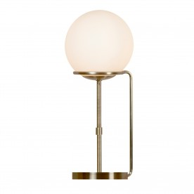 SPHERE 1LT TABLE LAMP ANTIQUE BRASS OPAL WHITE GLASS SHADES