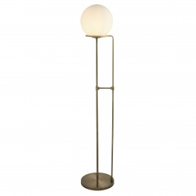 SPHERE 1LT FLOOR LAMP ANTIQUE BRASS OPAL WHITE GLASS SHADE