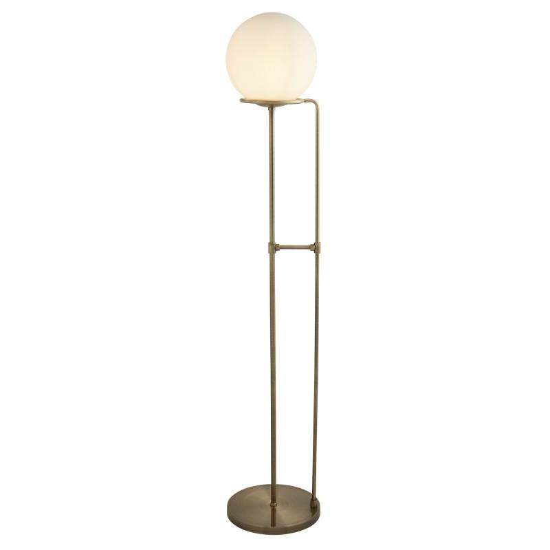 SPHERE 1LT FLOOR LAMP ANTIQUE BRASS OPAL WHITE GLASS SHADE