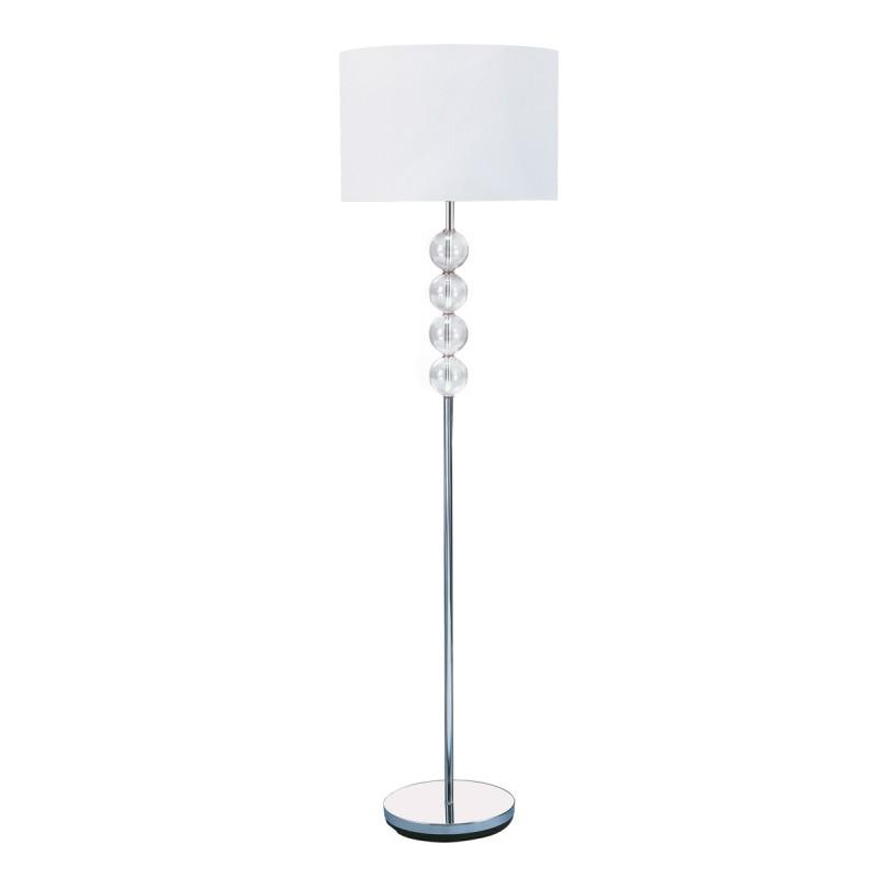FLOOR LAMP - CHROME/GLASS CW WHITE SHADE