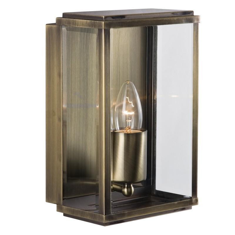 BOX - OUTDOOR WALL & PORCH  LIGHT - 1LT ANT/BRASS RECT BOX