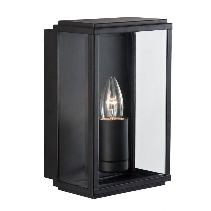 BOX - OUTDOOR WALL & PORCH  LIGHT - 1LT BLACK RECT BOX