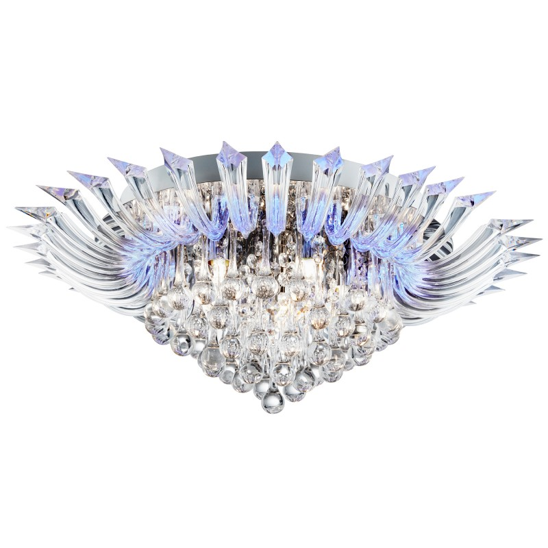 CRYSTORIA 5LT / BLUE LED CEILING FLUSH (W/ REMOTE) CHROME CLEAR GLASS DROPS/ACRYLIC ARMS