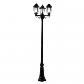 ALEX OUTDOOR POST LAMP - 3LT BLACK Ht 220
