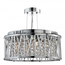 ELISE 3LT CEILING FLUSH/PENDANT CHROME CLEAR CRYSTAL BUTTON DROPS ALUMINIUM TUBES TRIM