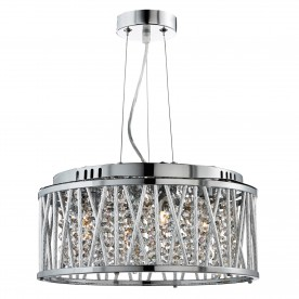 ELISE 4LT CEILING FLUSH/PENDANT CHROME CLEAR CRYSTAL BUTTON DROPS ALUMINIUM TUBES TRIM