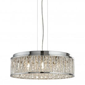 ELISE 7LT CEILING FLUSH/PENDANT CHROME CLEAR CRYSTAL DROPS ALUMINIUM TUBES TRIM