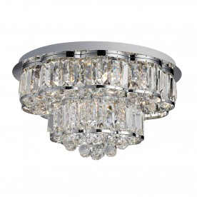 HAYLEY 6LT CEILING FLUSH CHROME CLEARL CRYSTAL BALLS DROPS