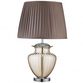 ELINA TABLE LAMP LARGE GLASS URN AMBER GLASS CHROME BROWN PLEATED SHADE